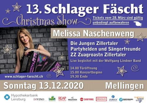 Das 13. HYPI's Schlager Fäscht Mellingen findet am 13 Dezember 2020 statt. Mit Melissa Naschenweng, Marc Pircher, Jungen Zillertaler, Partyhelden und Sängerfreunde, Wolfgang Lidner Band.