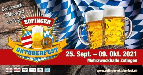 DasZofinger Oktoberfest2021 findet vom vom 25. September bis 9. Oktober in der Zofinger Mehrzweckhalle statt.