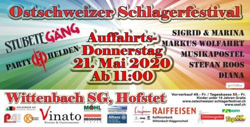 Das Ostschweizer Schlagerfestival findet am 21. Mai 2020 statt. MitStubete Gäng, Die Partyhelden, Diana,MarkusWohlfahrt, Musikapostel, Siegrid & Marina, und Stefan Roos,
