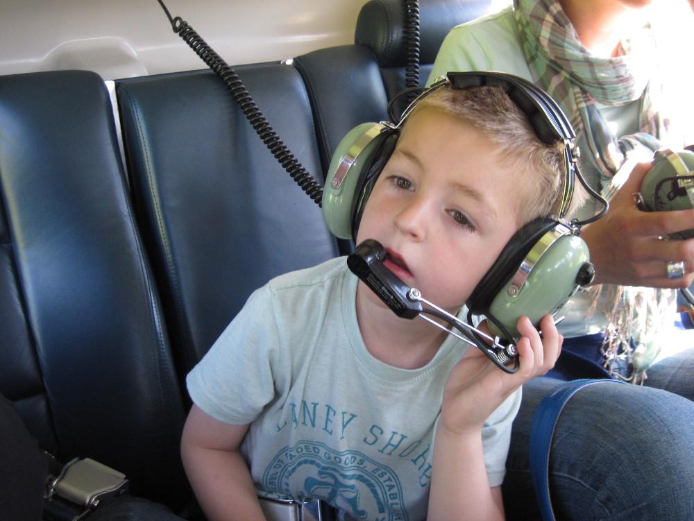 Valentin hob mit dem Helikopter ab.